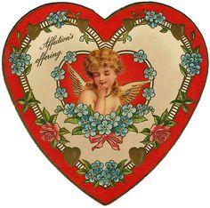 Victorian Valentines, Vintage Valentines, Vintage Greeting Cards, Vintage Postcards, Decoupage, Heart Shaped Candy, Owl Clip Art, Images Vintage, Valentines Art