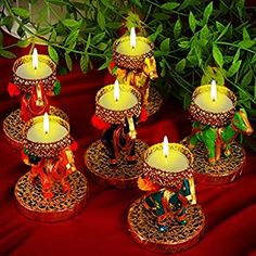 Diwali Candle Holders, Diwali Candles, Diwali Diya, Diwali Craft, Diwali Elephants, Diwali Decoration Items, Homemade Home Decor, Amazing Life Hacks, Wedding Decorations