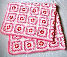 white, red and pink crochet