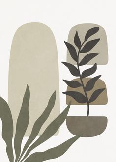 Quadro Decorativo - MINIMALIST TROPICAL PLANT AND GEOMETRIES