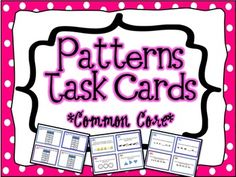 44 Pattern Task Cards aligned to Common Core Standards for and grade! Patterns can be practiced and mastered with these cards! Math Stations, Math Centers, Math Resources, Math Activities, Teaching Math, Teaching Ideas, Maths, Math Patterns, Number Patterns