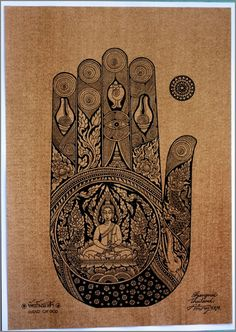 Thai traditional art of Hand Of The Buddha by by AmornGallery