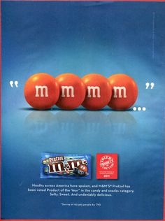 """M&M's Pretzel Voted Product Of The Year"", 2011 M&M's Candies Magazine Print Ad"