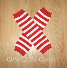 Red Stripes leg warmers Christmas leg warmers by CUTELITTLECLOSET, $10.00