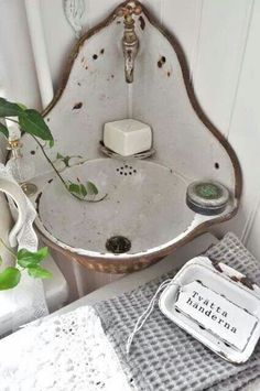 Very old enamelware sink