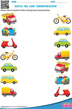 Kindergarten transportation worksheets that allow kids to match each vehicle to where we find them & match similar looking land transportation. These worksheets are free printable. Transportation Preschool Activities, Transportation Worksheet, Preschool Learning Activities, Free Preschool, Transportation For Kids, Vocabulary Activities, Fun Worksheets For Kids, Printable Preschool Worksheets, Kindergarten Worksheets