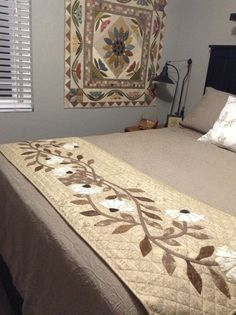 Timeless Traditions: Blue skies and sunshine.....Bed runner: Blackbird Design, done by Judy Lechner