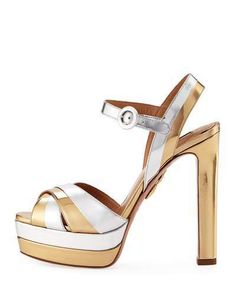 3b6a89d9b48a Aquazzura Coquette Metallic Leather Platform Sandal