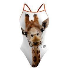 Giraffe Skinny Strap. Channel your African spirit animal with this friendly giraffe suit. @qswimwear.com #qswimwear