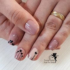 27 Unhas Decoradas com Corações, muito lindas Nail Spa, Manicure And Pedicure, Simple Nail Designs, Nail Art Designs, Cute Nails, Pretty Nails, Flower Nails, Perfect Nails, Simple Nails