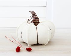 Rustic Cream Linen Pumpkin Countryside Decor by BailiwickStudio on Etsy.