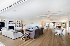 Open plan living and dining room, Dining Area, Dining Room, Big Bedrooms, Coastal Interior, Open Fireplace, Timber Flooring, Open Plan Living, New Builds, Decoration