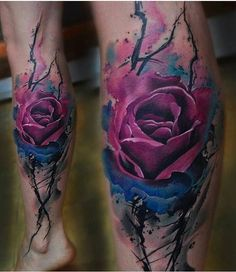Výsledek obrázku pro blue watercolor flower tattoo FOR girls