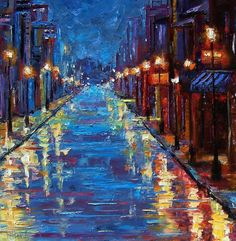 New Orleans Bourbon Street by Debra Hurd - Love the way the street lights dance of the rain covered street