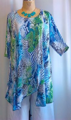 Coco and Juan Plus Size Asymmetric Tunic Top Python by COCOandJUAN
