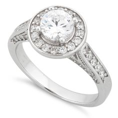 Sterling Silver Halo Round CZ Engagement Ring $14.30 size 10