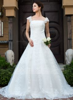 Wedding Dresses - $242.99 - Ball-Gown Square Neckline Cathedral Train Satin Tulle Wedding Dress With Lace Beading (002012625) http://jjshouse.com/Ball-Gown-Square-Neckline-Cathedral-Train-Satin-Tulle-Wedding-Dress-With-Lace-Beading-002012625-g12625