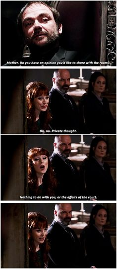 [gifset] 10x14 The Executioner's Song #SPN #Crowley #Rowena