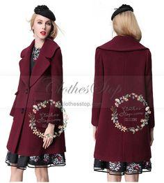 Woolen Coat in Red Wine Color