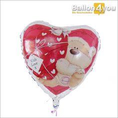 Herzballon - Mit Liebe und Kuschelbär     Mit Liebe geschenkt! Auf diesem Herzballon befindet sich ein kuscheliger Teddybär, welcher sein Herz ganz persönlich der beschenkten Person überreichen möchte. Und Sie? Wem möchten Sie Ihr Herz schenken?