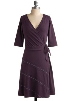 Freeway from Commitments Dress - Purple, Solid, A-line, 3/4 Sleeve, Casual, Fall, Wrap, Mid-length