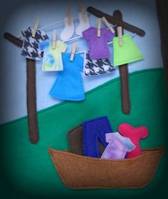 Good busy book page idea - although I'm not sure most kids these days have ever seen a clothesline!