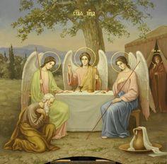 Троица Ветхозаветная, Гостеприимство Авраама. Живописная икона в академическом стиле.