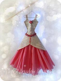 Papier Boudoir Boutique Sweet Cherry by lilliputloft on Etsy Pink Paper, Paper Roses, Little Dresses, Pretty Dresses, White Coat Hangers, Origami Vestidos, Collage Kunst, Paper Art, Paper Crafts