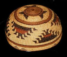 Hupa Basket Hat  Willow, pine root, bear grass,  maidenhair fern, woodwardia