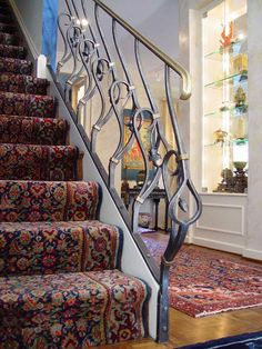Blacksmith : Custom Designed Stair Railing : Hand Forged Steel and Naval Brass