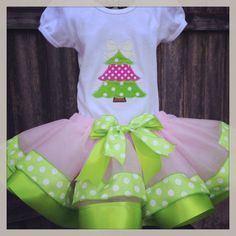 Christmas Tree Ribbon Trimmed Tutu Set by SweetSouthernThings1