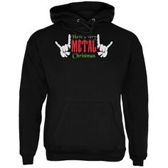 Christmas Heavy Metal Horns Black Adult Hoodie