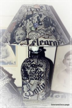 #Bottle lamp. #Recycle newspaper.