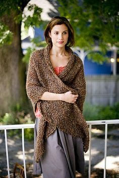 Honest Warmth Shawl (free knitting pattern by Lion Brand -- requires a free account to log in) Poncho Au Crochet, Crochet Shawls And Wraps, Knitted Shawls, Knit Or Crochet, Knitted Scarves, Crochet Granny, Loom Knitting, Knitting Patterns Free, Free Knitting