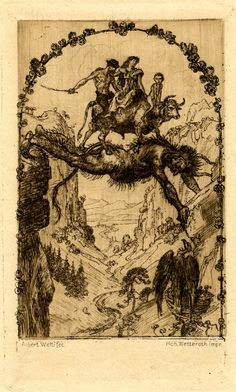 Die Teufelsbrücke (The Devil's bridge) Three figures sitting on a bull crossing a ravine on the back of a defil who, stretching his bo...