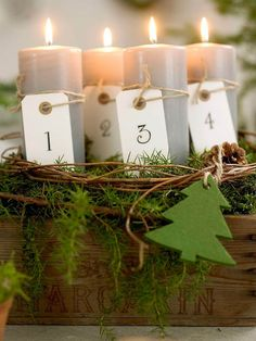 Create a candlelit centerpiece using an old wooden create, moss, vines and Christmas greens.