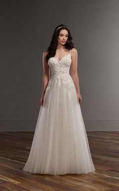 822 A-line wedding dress with illusion lace bodice by Martina Liana