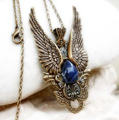 Brass Wings Jewelry Set Necklace and Earrings Steampunk Jewelry via Etsy