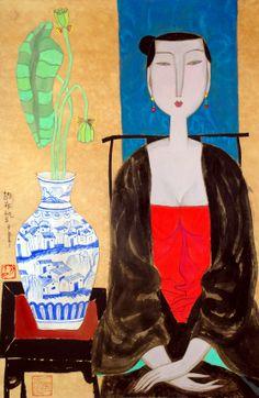 Art prints: Sitting still by Hu Yongkai 70x45.5cm