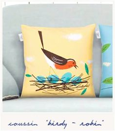 Coussin Bird on the wire