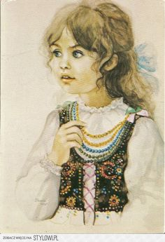 Girl wearing a traditional folk outfit from Kraków Jean Paul Ii, Life In Egypt, Realistic Paintings, Exhibition Poster, Expositions, Indian Paintings, Portraits, Illustrations And Posters, S Girls
