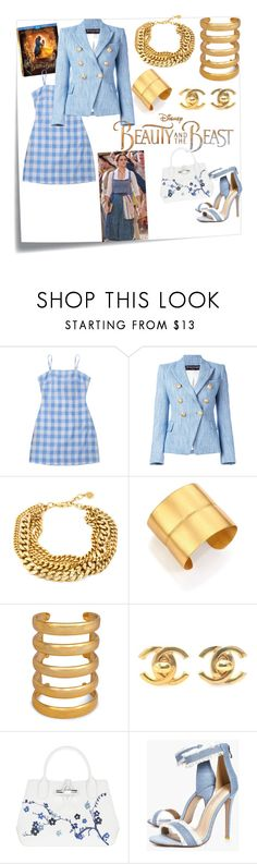 """""""#ss17 trend styled By @style_therapy_coach"""" by styletherapycoach ❤ liked on Polyvore featuring Post-It, Disney, Balmain, Stephanie Kantis, Aurélie Bidermann, Chanel, Longchamp, Boohoo, BeautyandtheBeast and contestentry"""