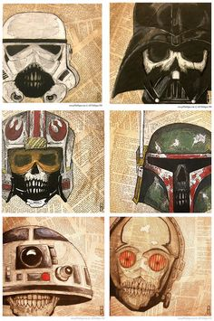 Memento mori illustrations of star wars characters by artist Jeff Hulligan