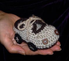 PDF Pattern No 35 Crocheted Baby Boy Car Booties by Cathyren