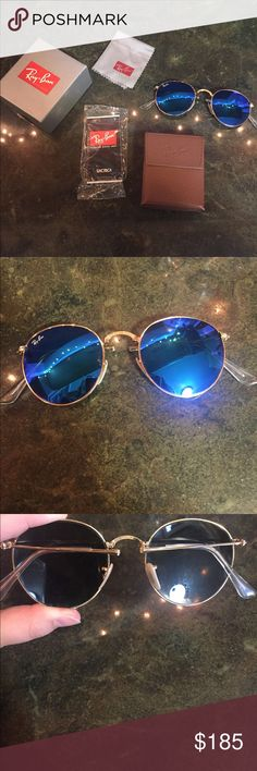 Ray Ban Folding Polaroid Round Metal Sunglasses 🕶 I wore these a few times!! The style is RB 3447 112/4L 50-21. Size lenses bridge: 50 21. Temple Length: 145. They fold at the nose and at the arms. Comes with original case, cloth and box. Polarized Blue Flash Lenses. Go for $203 at Ray Ban store and website Ray-Ban Accessories Sunglasses
