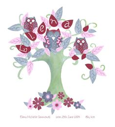 Owl Tree - Personalised Childs Name Tree - Unframed print. £35.00, via Etsy.