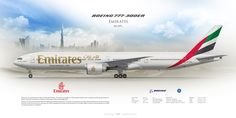 Boeing 777-300ER Emirates A6-EPL | www.aviaposter.com | Airliners profile print | #airliners #aviation #jetliner #airplane #pilot #avia #airline