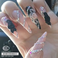 Check out these stunning nails created by Christrio educator Beautiful work as always! Glam Nails, Bling Nails, Nail Manicure, Cute Nails, Pretty Nails, Stiletto Nails, Coffin Nails, French Nails, Dimond Nails