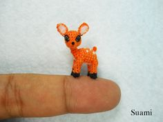 Lovely Fawn Deer Micro Crocheted Orange Fawn Deer Made by suami. , via Etsy. Felt Animals, Crochet Animals, Crochet Toys, Baby Animals, Bambi, Crochet Deer, Tiny Dolls, Red Panda, Embroidery Thread