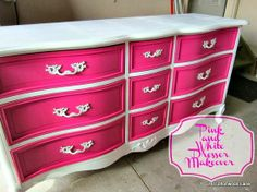 Just love how this DIY dresser pops with color and panache. Pink and White Dresser Makeover